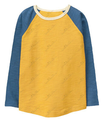 Gymboree 3T 4T 5T Yellow Blue Tee Shirt Raglan Long Sleeved Boys