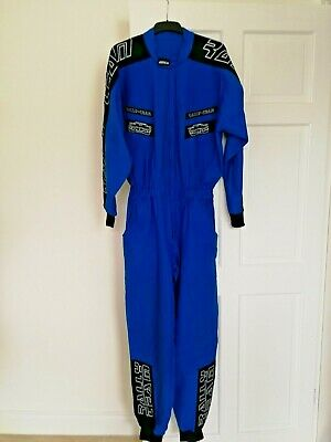 Vintage Retro Mechanic Rally Racing Overalls - S - Blue