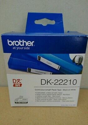 Genuine Brother Black On White DK-22210 29mm x 30.48m Continuous Paper Tape
