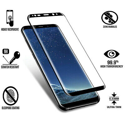 Samsung Galaxy S9 S8 Plus Tempered Glass Screen Protector Full HD Cover 3D Clear