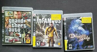 PS3 LOT - Demons Souls inFamous GTA 4 Grand Theft Auto IV Playstation 3