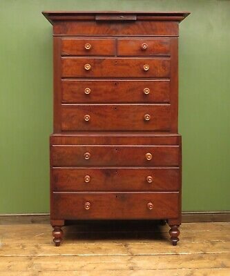 Substantial Mahogany Chest on Chest of Drawers Flame Veneers, Victorian Whopper!