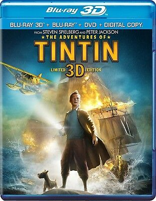 The Adventures of Tintin (Blu-ray/DVD, 2012, 3-Disc Set; 3D)