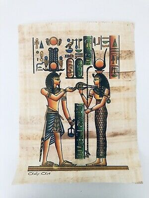 Vintage HAND PAINTED EGYPTIAN ART ON PAPYRUS Egypt Hieroglyphics Pharaoh Queen