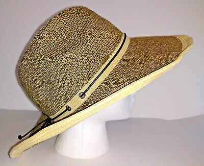 e2d46aba Hat SCALA COLLEZIONE Womens Wide Brim Sun Tan And Black Packable Paper