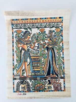Vintage HAND PAINTED EGYPTIAN ART ON PAPYRUS 2 Egypt Queens Young Cleopatra
