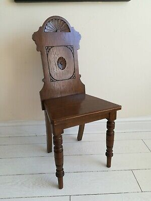 Carved golden oak shield back side/hall chair turned legs project