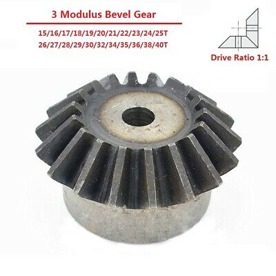 3 Modulus 15/16/17/18-40T Umbrella Tooth 90° 1:1 Pairing 45# Steel Bevel Gear