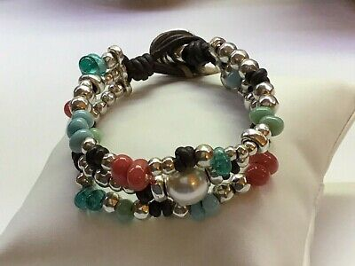 "NWT Uno de 50 Silver-plated/Turquoise/Green/Coral Bracelet ""Caribbean Pearl"""