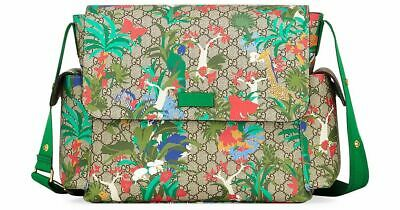 d14365b49d534a Gucci Jungle Green Print GG Canvas Diaper Bag Beige Multicolor Baby Italy  New