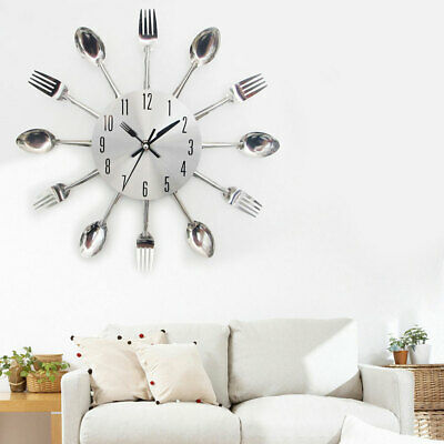 Spoon Metal Large Cutlery Kitchen Tableware Silent Silver Wall Clock Decoration