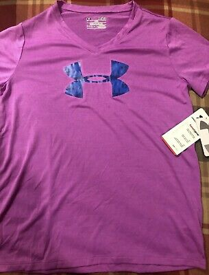 New Girls Under Armour Shirt YLG Large Purple