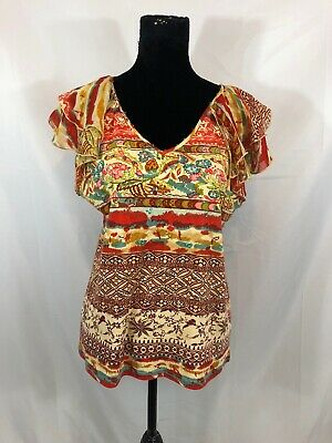 Bamboo Traders Womens Size L Multi-Color Floral Short Ruffle Sleeve V-Neck Top