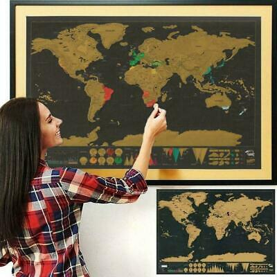 Deluxe World Travel Scratch Off Map 74.5 * 53.5cm Poster Wall Paper Kids Gi H6A2