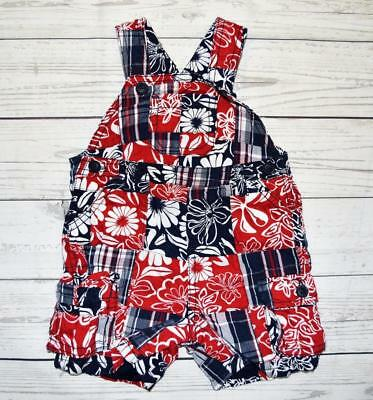 Infant Boys 12 m CHILDRENS PLACE Shortalls Overalls Outfit Floral Madras Patches