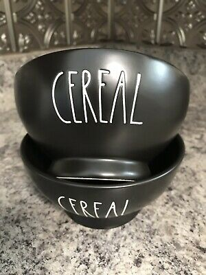 Rae Dunn CEREAL BOWLS In BLACK Set Of Two LL VHTF *Brand New