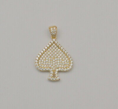 10k Solid Yellow Gold Pendant Ace of Spades Cubic Zirconia Charm