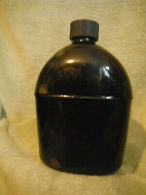 US Military Issue WWII ARMY USMC BLACK ENAMEL Canteen  DATED U.S. REP 1942