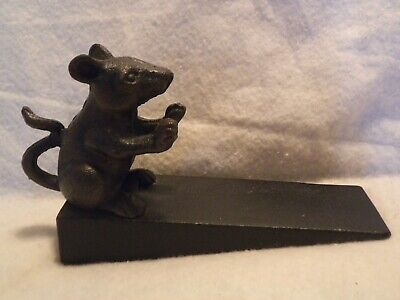 Cast Iron Mouse Wedge Door Stopper Rustic Vintage Style Decor