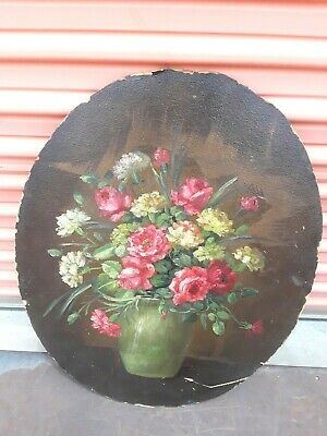 OMG VICTORIAN PINK RED ROSES FLORAL OIL PAINTING on BOARD Oval SINGED no FRAME