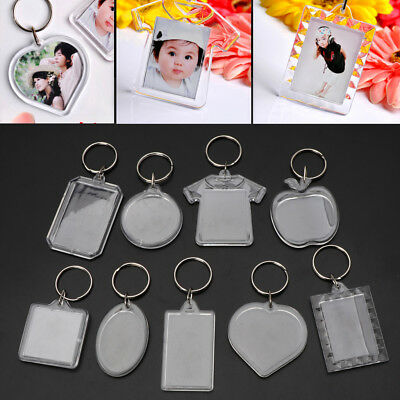 10Pcs Picture Blank Keyrings Acrylic Transparent  Key Chains Insert Your Photo