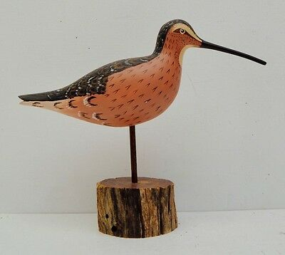 Wooden Bird Decoy Watson Rustic Arkansas Folk Art Farmhouse Water Fowl Pink Vtg