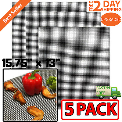 Pack of 5 Grill Mat BBQ Mesh Non Stick Teflon Cooking  Liner Fish Grilling Sheet