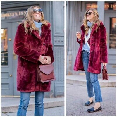 7a4dc02381af Anthropologie ett:twa Tayberry Faux Fur Coat Plush Jacket Maroon Red Wine  LARGE