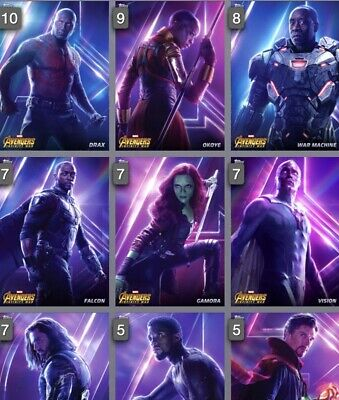 Topps Marvel Collect Card Trader Avengers Infinity War Posters Set Of 20 + Award