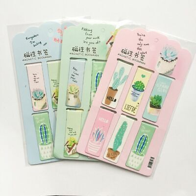 6pcs /Set Fresh Green Plants Cactus Magnetic Bookmarks Books Marker of Page S…