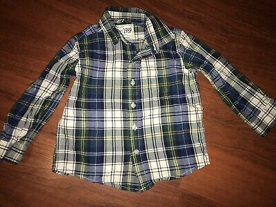 Childrens Place Plaid Button Up Shirt Toddler Boys 2t Green Blue Long Sleeve
