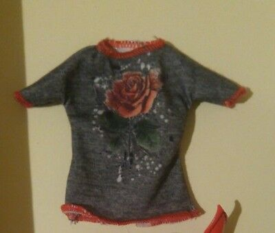 Barbie Doll   GREY & RED TRIM  ROSE T- SHIRT