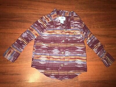 OLD NAVY Aztec Tribal Print 2t Toddler Boys Button Up Southwestern Long Sleeve