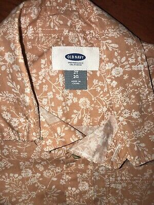 OLD NAVY Floral Button Up Shirt 2T Boys Toddler Short Sleeve Peach Ivory Print