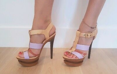 cfb518b26b Jessica Simpson Cathi Natural Combo Strappy Open Toe Platform Heels Size 8  / 38