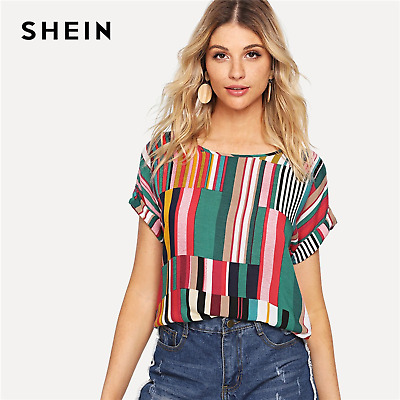 0534cc4884505 SHEIN Multicolor Mix Striped Print Rolled Up Tshirt Casual Loose Scoop Neck  Tops