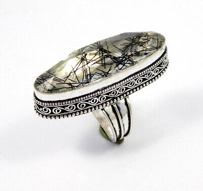 Black Needle Rutile Silver Plated Hand Carving Size 8.25 Ring Jewelry JC8716