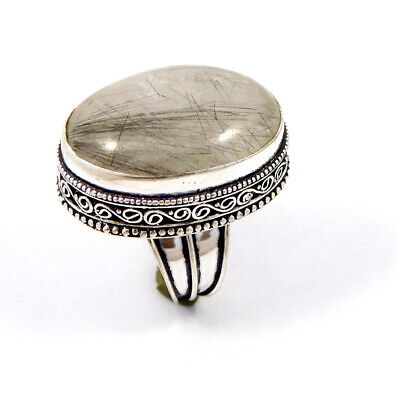 Black Needle Rutile Silver Plated Hand Carving Size 8.25 Ring Jewelry JC8718