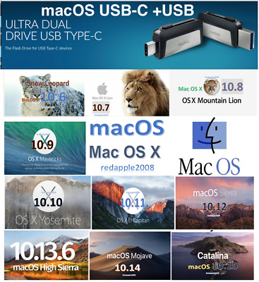 32GB USB disk macOS  Mac OSX OS X Bootable installer drives 10.6 to 10.14,10.15