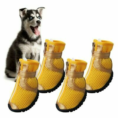 4pc Dog Shoes Small Large Anti-slip Mesh Boots Booties for Snow Rain Reflective