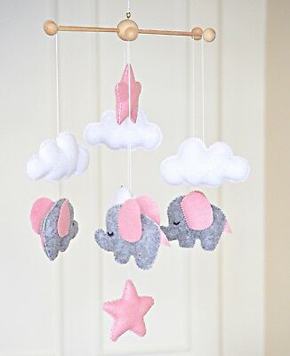 Elephant nursery mobile cloud cot mobile baby mobile nursery decor baby shower