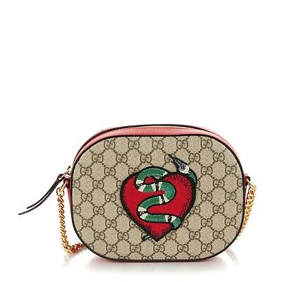 716284eaa Gucci Limited Edition GG Supreme Embroidered Kingsnake Heart Mini Chain Bag  Red