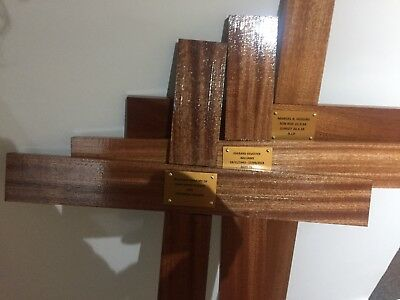 "Wooden Memorial Cross Grave Marker 42"" Free Postage Hand Made"