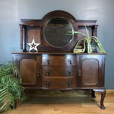 Vintage Antique Sideboard Buffet Server Mirror Mahogany Cabinet Cupboard Drawers