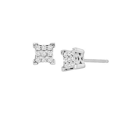 1/4 ct Diamond Composite Square Stud Earrings in Sterling Silver
