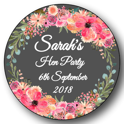 6 LARGE  88mm Personalised Hen Do Party Night Stickers /Labels