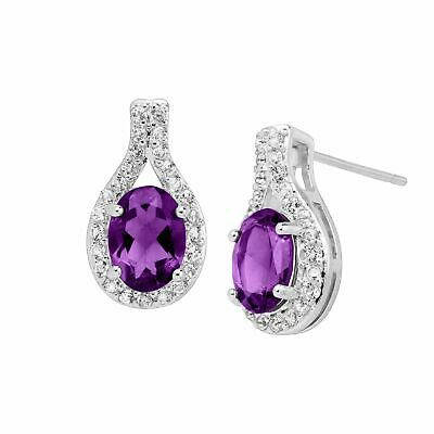 Natural Amethyst & Created White Topaz Teardrop Earrings in Sterling Silver