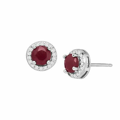 Natural Ruby & White Topaz Halo Stud Earrings in Sterling Silver