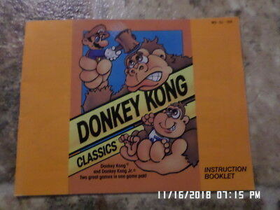 Donkey Kong Classics (NES Nintendo) Instruction Manual Only... NO GAME