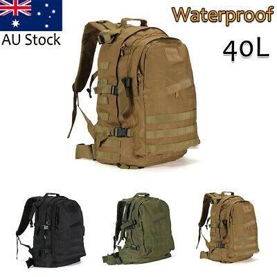 40L Military Tactical Backpack Molle Rucksacks Camping Hiking Trekking Bag AU